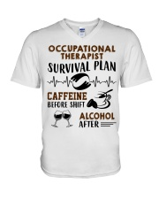 Occupational Therapist Survival Plan Caffeine  V-Neck T-Shirt thumbnail