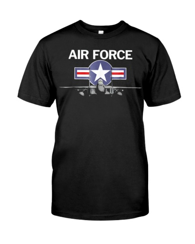 Air Force T Shirt With Vintage Roundel And F15 Jet