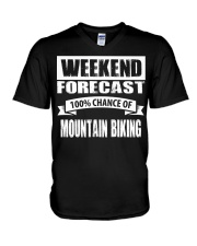 WEEKEND FORECAST 100CHANCE OF MOUNTAIN BIKING V-Neck T-Shirt thumbnail