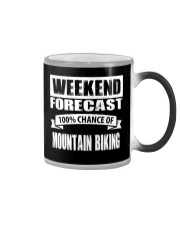 WEEKEND FORECAST 100CHANCE OF MOUNTAIN BIKING Color Changing Mug thumbnail