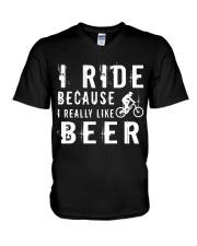 I RIDE BECAUSE I REALLY LIKE BEER V-Neck T-Shirt thumbnail