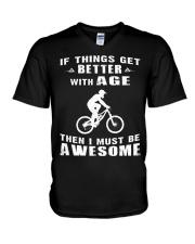 MOUNTAIN BIKING IS AWESOME V-Neck T-Shirt thumbnail