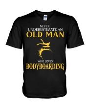 NEVER UNDERESTIMATE OLD MAN WHO LOVES BODYBOARDING V-Neck T-Shirt thumbnail
