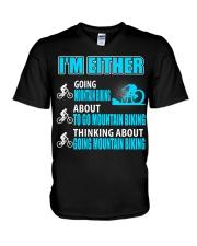 I'M EITHER THINKING ABOUT GOING MOUNTAIN BIKING V-Neck T-Shirt thumbnail