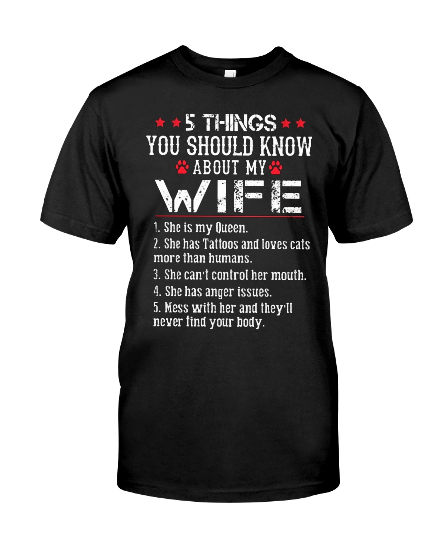 Wife 5 Things - Has Tattoos - Loves Cats Premium Fit Mens Tee
