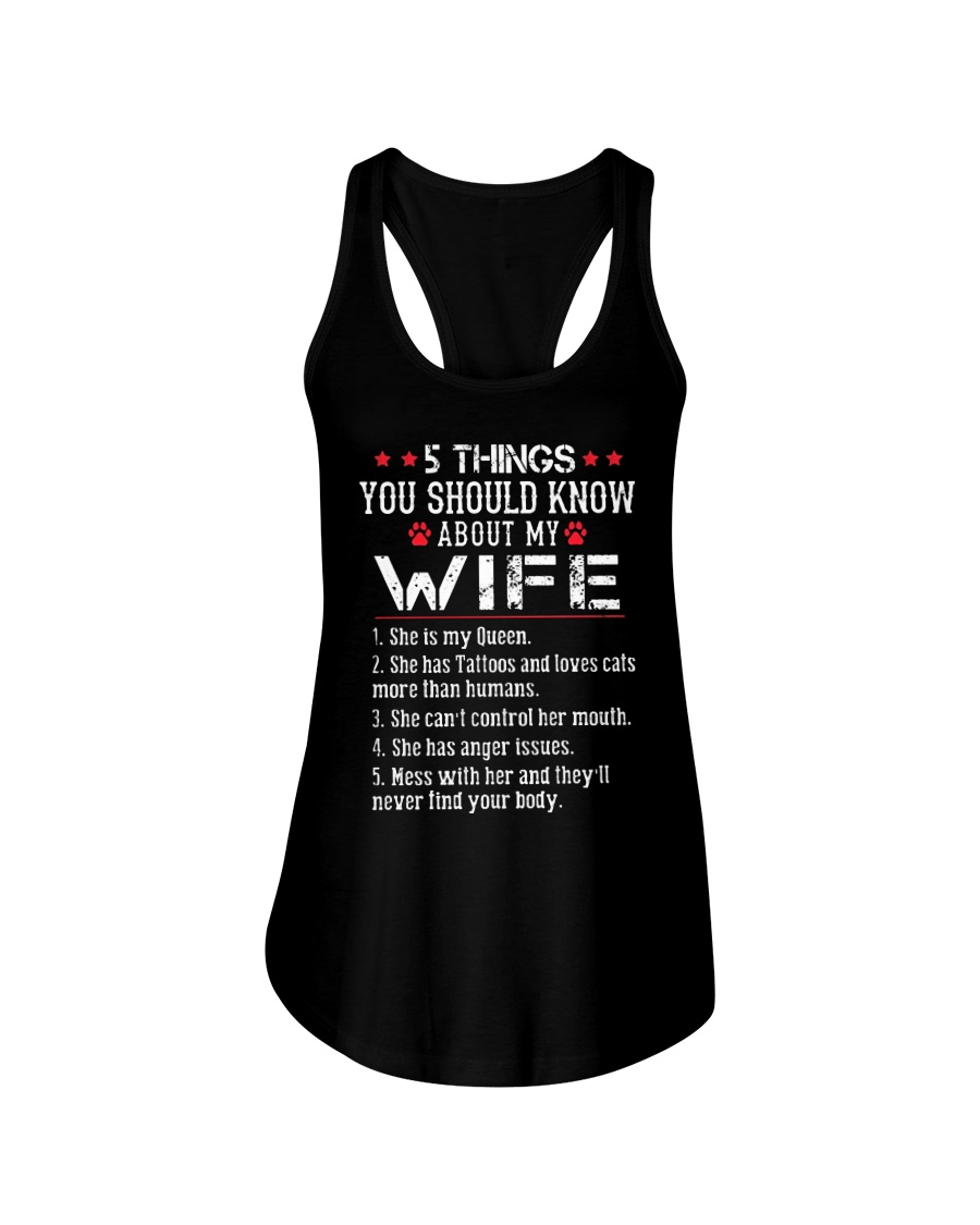 Wife 5 Things - Has Tattoos - Loves Cats Ladies Flowy Tank