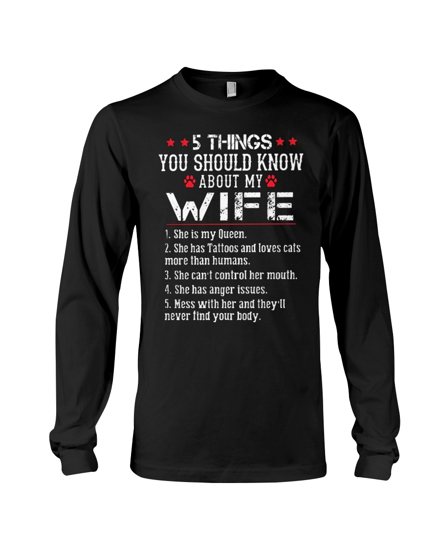 Wife 5 Things - Has Tattoos - Loves Cats Long Sleeve Tee