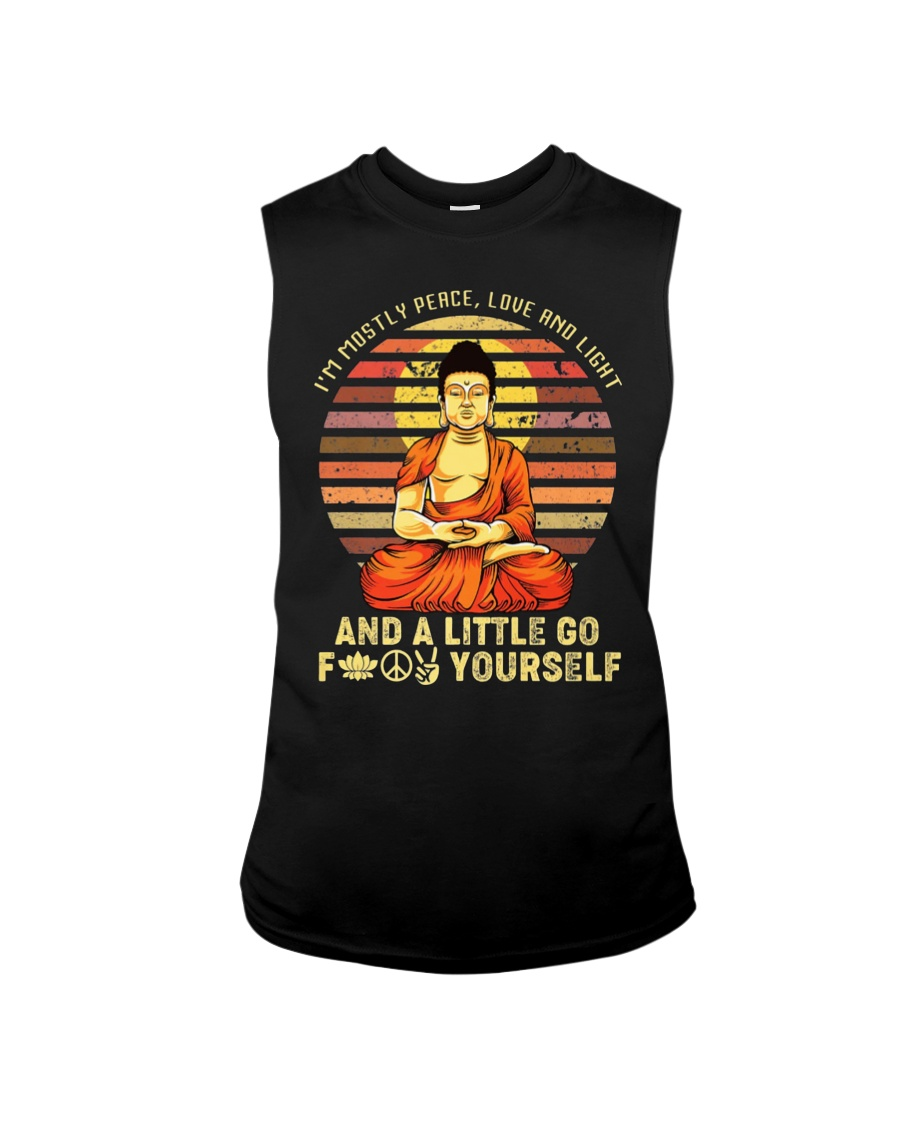 I'm Mostly Peace Love And Light And A Little Yoga  Sleeveless Tee