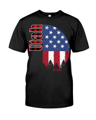 Buffalo Plaid Utah American Flag Christmas T-Shirt