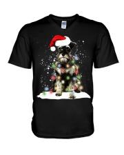 Schnauzer Christmas V-Neck T-Shirt thumbnail