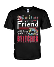 QUILTING with a friend V-Neck T-Shirt thumbnail