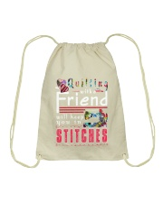 QUILTING with a friend Drawstring Bag thumbnail