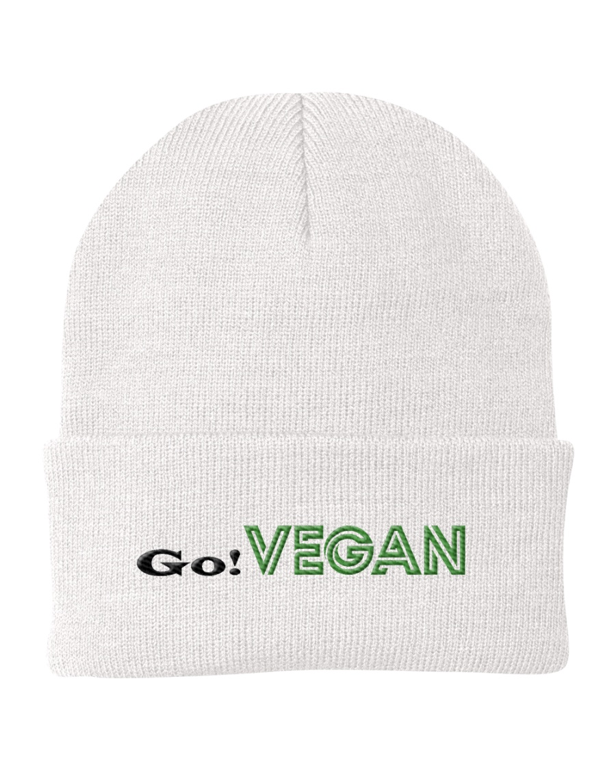 go vegan vegetarian community  Knit Beanie