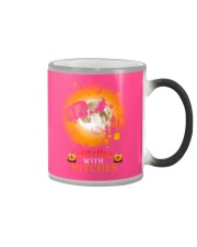 Witches with hitches camping halloween Color Changing Mug tile