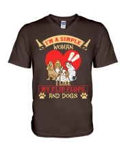 Simple Woman Flip FLops And Dogs V-Neck T-Shirt thumbnail