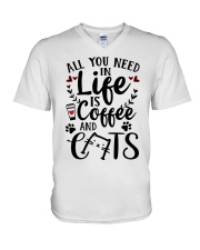 All You Need In Life Cats Coffee V-Neck T-Shirt thumbnail
