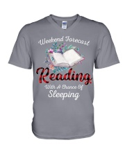 Reading With A Chance Of Sleeping V-Neck T-Shirt thumbnail