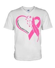 I wear pink for my angel in heaven V-Neck T-Shirt tile