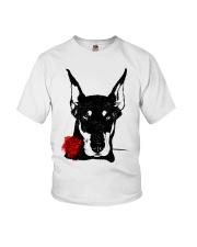 Cute Doberman with Rose Youth T-Shirt tile