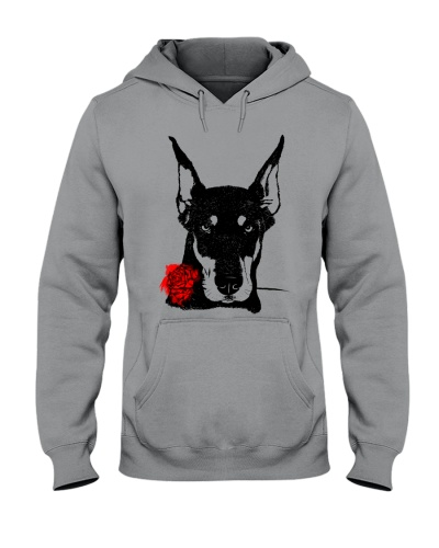 Cute Doberman with Rose