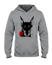 Cute Doberman with Rose Hooded Sweatshirt front