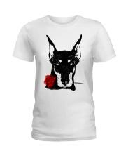 Cute Doberman with Rose Ladies T-Shirt tile