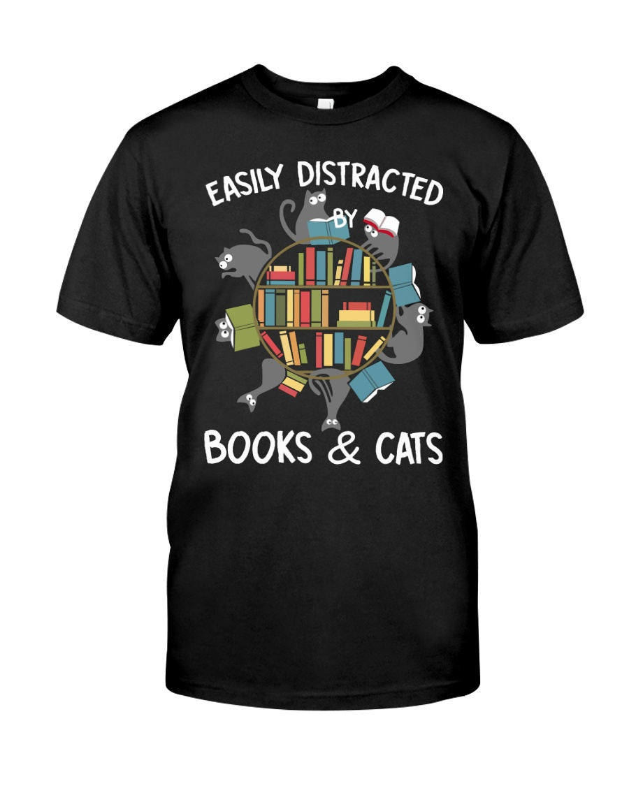 Easily Distracted By Books And Cats Classic T-Shirt