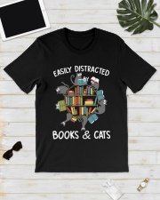 Easily Distracted By Books And Cats Classic T-Shirt lifestyle-mens-crewneck-front-17