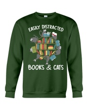 Easily Distracted By Books And Cats Crewneck Sweatshirt thumbnail