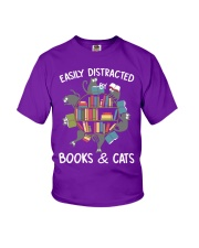 Easily Distracted By Books And Cats Youth T-Shirt thumbnail