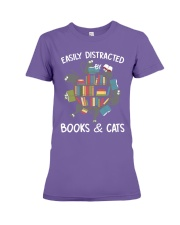 Easily Distracted By Books And Cats Premium Fit Ladies Tee thumbnail
