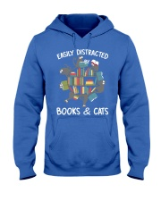 Easily Distracted By Books And Cats Hooded Sweatshirt thumbnail