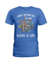 Easily Distracted By Books And Cats Ladies T-Shirt thumbnail