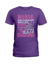 Nurse Encourager Kind Healer Dedicated Ladies T-Shirt thumbnail