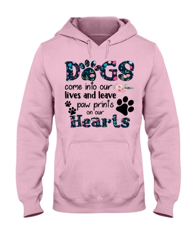Dogs come into our lives leave paw prints hearts