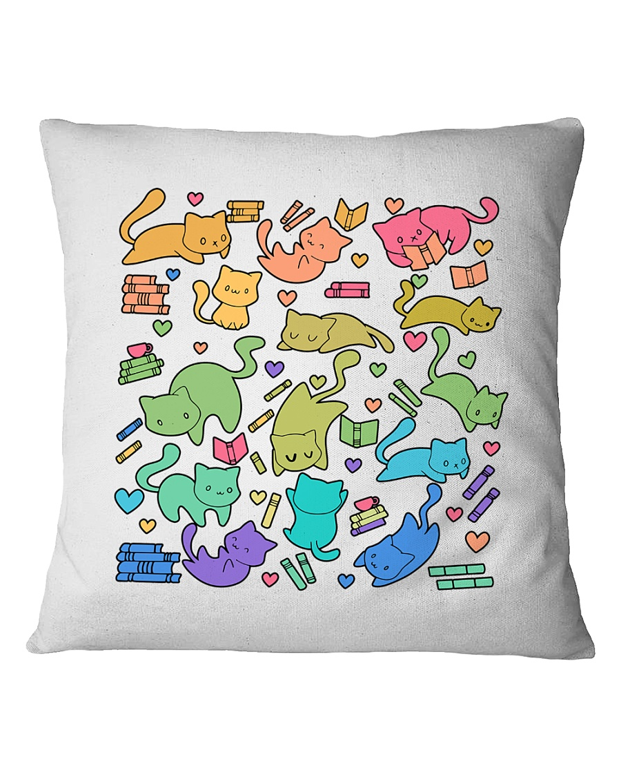 Cats And Books Pillow Limited Edition Square Pillowcase