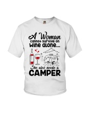 A Woman Cannot Survive On Wine Alone Youth T-Shirt tile