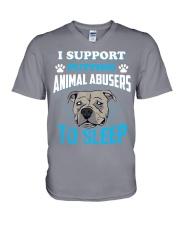 I support putting animal abusers to sleep V-Neck T-Shirt thumbnail