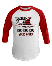 Teacher Shark Doo Doo Your Work Baseball Tee tile