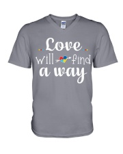 Love Will Find A Way Autism V-Neck T-Shirt thumbnail