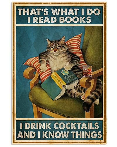 Cat Read Books Drink Cocktail