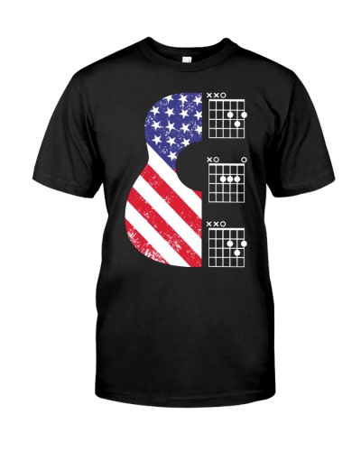 American Flag Guitar Chords DAD Father's Day shirt
