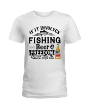 Fishing Beer And Freedom Ladies T-Shirt thumbnail
