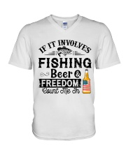 Fishing Beer And Freedom V-Neck T-Shirt thumbnail