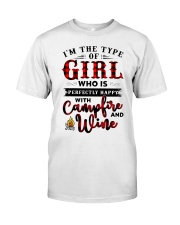 Im The Type Of Girl Campfire And Wine Classic T-Shirt thumbnail