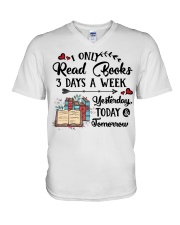 Read Books Three Days A Week V-Neck T-Shirt tile