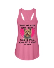 yorkies first we steal your heart Ladies Flowy Tank thumbnail