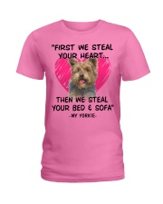 yorkies first we steal your heart Ladies T-Shirt tile