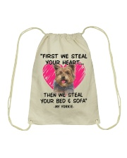 yorkies first we steal your heart Drawstring Bag thumbnail