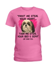SHIH TZU First We Steal Your Heart Ladies T-Shirt tile